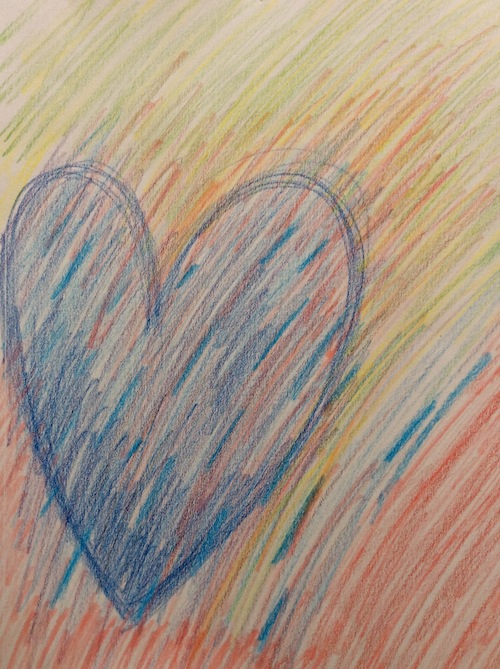 grateful heart as drawn in colored pencils