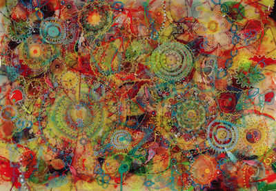 artistic picture of the chaos of tantric overload- many colors and shapes