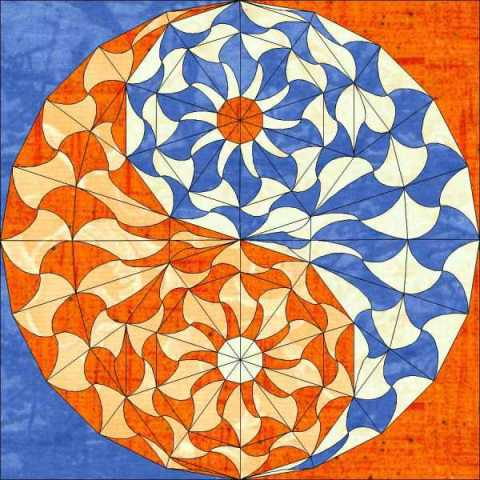 An orange and blue mandala of the taoist symbol for unity.