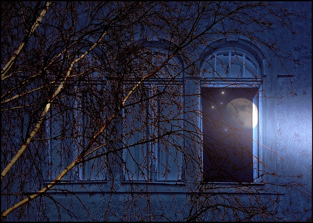 three windows in a house facade, only one is open, a tree, the moon and rain