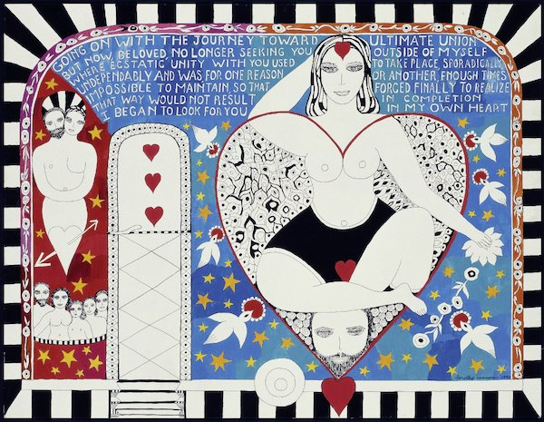 "Dorothy Iannone's ""My Caravan"" piece, depicting women's sexuality and sexual union"