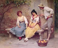 oil painting of one young man flirting with two young ladies, who are seated on a bench near a bowl of apples