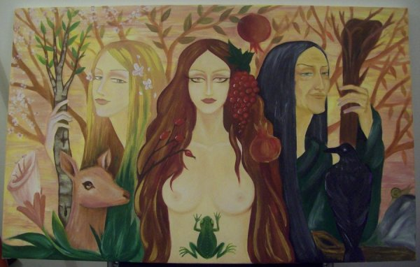painting of the maiden, mother, and crone- the triple goddess