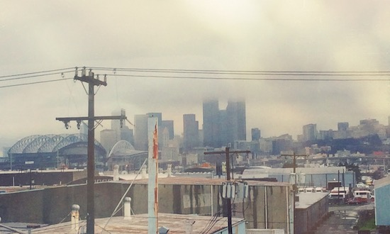 Cloudy picture of the Seattle skyline from the SODO area of town