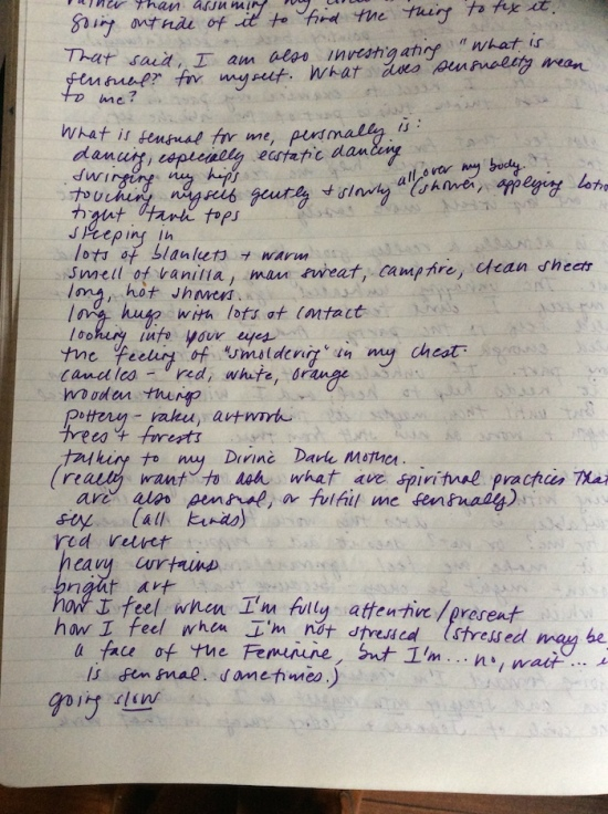 a journal list of sensual experiences