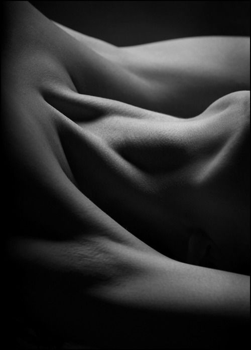 woman's neck taken in black and white with perspective that makes it difficult to place; sensual