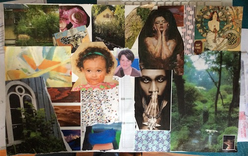 collage of many different faces, trees, paths, as a record of spiritual journey