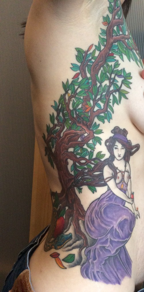 Snake, tree, and Eve tattoo, full-color about sexual and spiritual opening