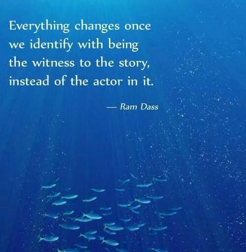 Everything changes once we identify with being the witness to the story instead of the actor in it- Ram Dass