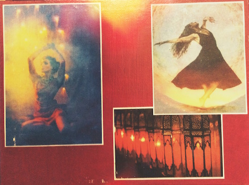 a picture of a woman dancing, a woman in sensual repose, and a line of burning lanterns to symbolize the wild, sensuous woman archetype
